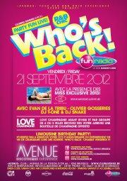 WHO'S BACK - 21/09/2012 | Avenue