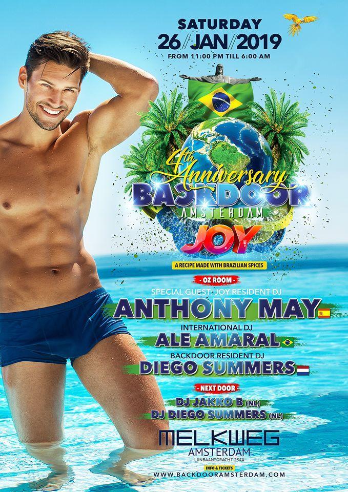 Backdoor : BACKDOOR 4th Anniversary ft. JOY PARTY Brazil - Saturday 26/01/2019